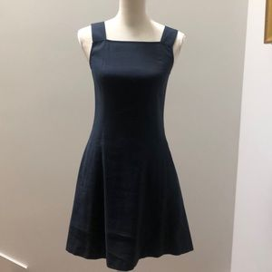 Navy linen fit and flare dress by Theory, 4
